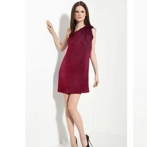 Halston Heritage RedOne-Shoulder Silk Mini Dress 2